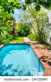 Small swimming pool and garden. Shot near Stellenbosch and Cape Town, South Africa.