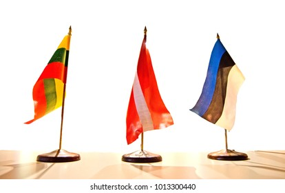 Small table flags of three Baltic states (Lithuania, Latvia, Estonia) which celebrates 100 year anniversary in 2018 since their states independence declaration (1918)