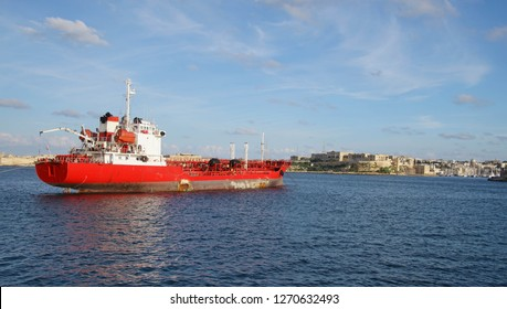 Small tanker ship in the Grand Harbor of Valletta, Malta