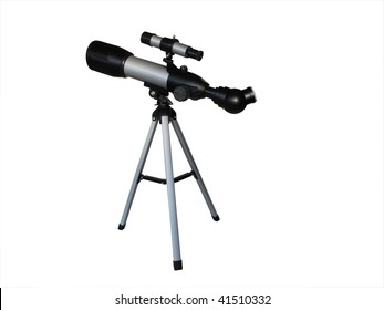 Small telescope on tripod isolated