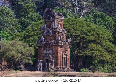 Small temple in Angkor Thom, Siemreap, Cambodia. Popular among tourists ancient landmark and place of worship in Southeast Asia, Siem Reap.
