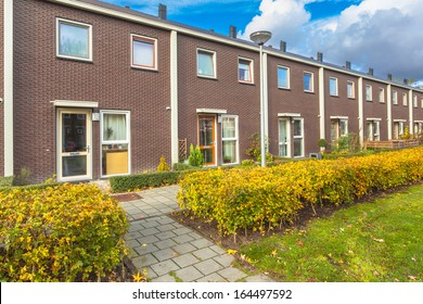 Small Terraced Houses in a Suburban Area in Europe