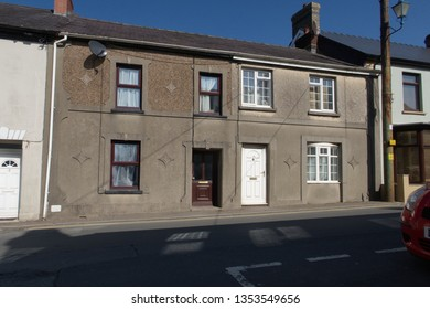 Small terraced houses in the town center at St Clears, Carmarthenshire, Wales, UK.