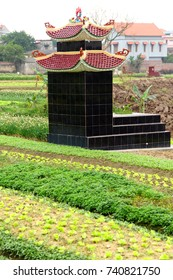 Small Tombs in rice paddies, near Haiphong,  Vietnam