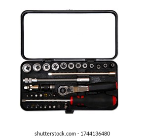 small tool kit with a screwdriver with removable bits and a ratchet wrench with heads on a white background. car service and construction repair concept. flat lay. copy space.