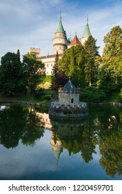 small tower in the midle of the lake, bojnice castle, slovakia