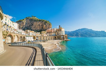 Small town Atrani on Amalfi Coast in province of Salerno, Campania region, Italy. Amalfi coast on Gulf of Salerno is popular travel and holyday destination in Italy.