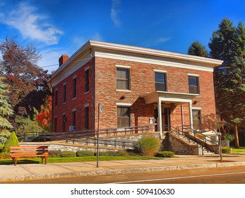 small town bank depiction