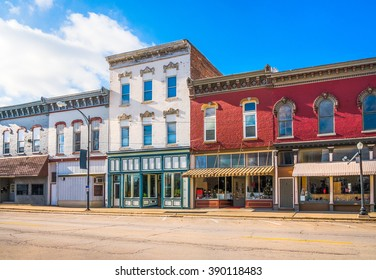 Small town business storefronts main street
