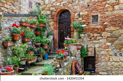Small town house arch door in Italy. Italy yard flowers view. Old italian town street yard flowers. Italy street yard flowers scene