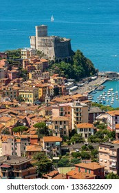 Small town of Lerici town in the Gulf of La Spezia with the castle (1152-1555). Mediterranean sea, Liguria, Italy, Europe