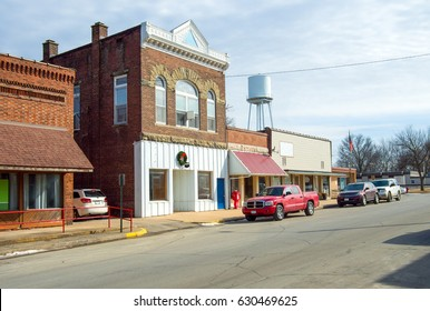 Small Town Main Street USA America Midwest business shop buildings downtown