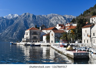 Small Town in Montenegro with a church in the middle of a lake, Perast