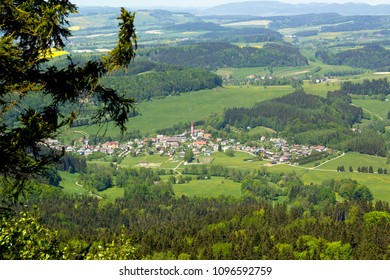 Small town in the mountains, green country landscape
