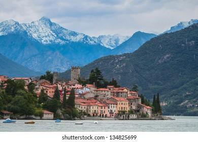 Small town near lake Como in Italian Alps
