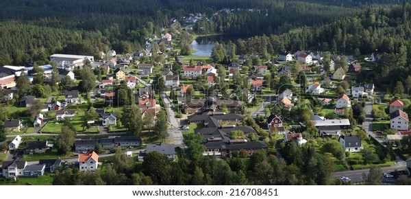 Small Town Neighborhood. Cute real estate close to nature with clean fresh air. Unique bird view panorama.
