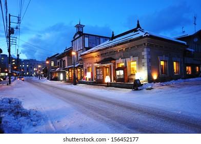 small town of Otaru, Hokkaido Japan at twilight