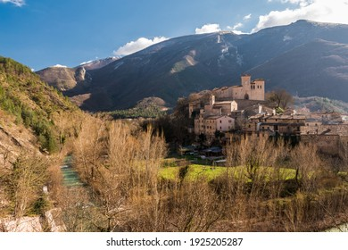 The small town of Piobbico in the Pesaro-Urbino province with mount Nerone in the background (Marche, Italy)