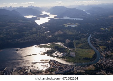 Small Town of Port Alberni on Vancouver Island, British Columbia, Canada. Taken from an aerial view during a sunny summer day.