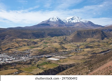 Small town of Putre in the Arica and Parinacota region of northern Chile. The small town sits in a fertile valley below the dormant Taapaca volcano (5860 m).