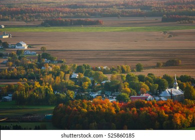 small town in quebec looking from the top of mount st-gregoire