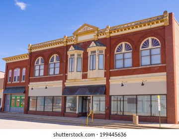 Small town storefront Midwest with ornate windows Bement Illinois
