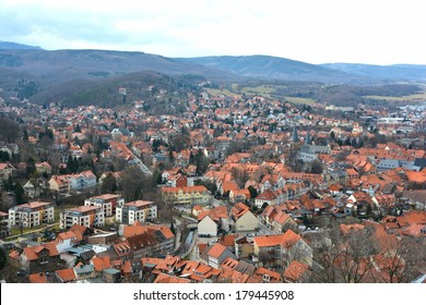 The small town of Wernigerode in the Harz mountains from a bird's perspective