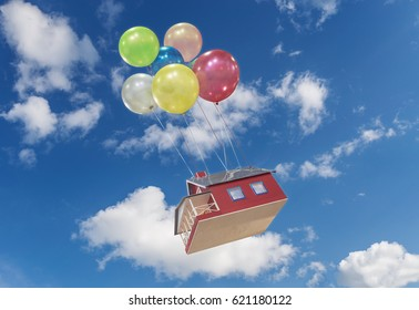 A small, toy house flies across the sky on colorful balloons