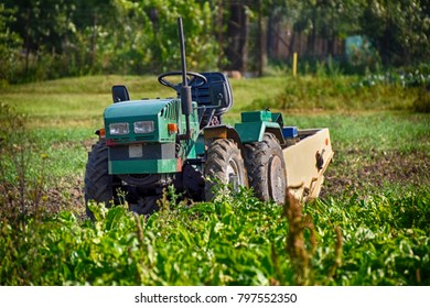 small tractor in the field