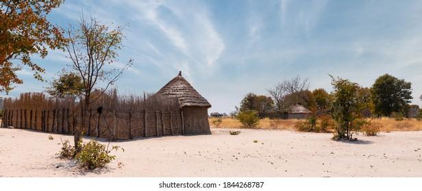 Small traditional african village inside the Okavango Delta, Botswana