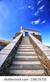 Small traditional church of Panagia Thalassini in the town of Chora, Andros island, Cyclades, Greece