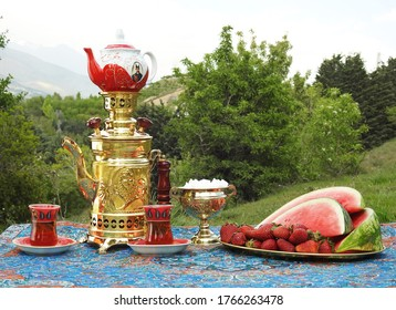 small Traditional Iranian teapots and samovars on carpets in picnic