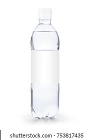 Small transparent plastic bottle with white cap and white blank label isolated on white background including clipping path and original shadow