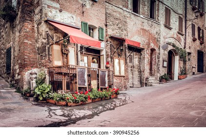 Small trattoria in tuscan Montepulciano town, Italy