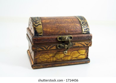A small treasure chest, isolated on white