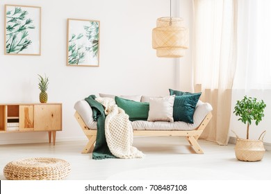 Small tree in braided basket next to sofa with green pillows and knit blanket in relax room with pouf