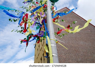 Small tree with colored ribbons are put up by boys for their girls and in leap years girls put them up their boys on May 1. Old tradition in Germany.