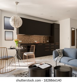 Small and trendy designed flat interior with stylish black  and gold kitchen, new style dining area and elegant living room
