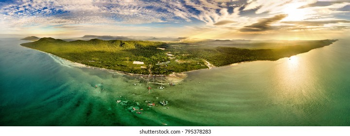 Small tropical island in the ocean. Royalty high quality free stock image aerial view of Rach Vem beach in Phu Quoc, Kien Giang, Vietnam