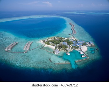 Small tropical island. View from drone. Maldives,Indian ocean