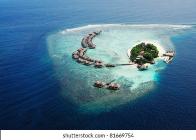 Small tropical island. View from the seaplane. Maldives,Indian ocean