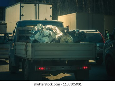 small truck laden with big engine