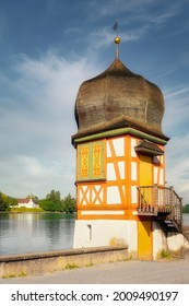 Small turret on the banks of the Rhine. Historic architecture in Stein am Rhein, canton of Schaffhausen, Switzerland. Bright and colorful, romantic Switzerland.                                - Shutterstock ID 2009490197