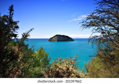 Small uninhabited island off the coast of New Zealand