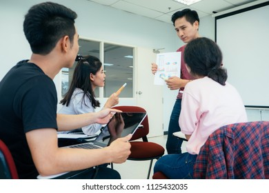 Small university students group study and discussion together.