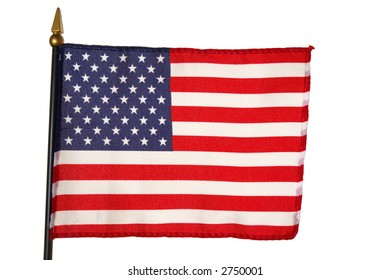 Small US American flag over white background
