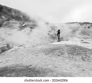 Small Valley of Geysers near Petropavlovsk-Kamchatsky - Kamchatka, Russia (black and white)