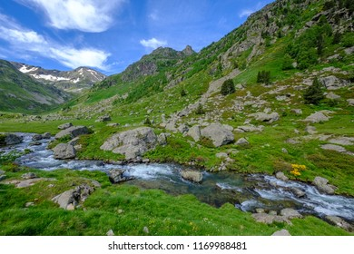 Small valley with stream and pastures in the french Pyrenees mountains, near Aston in Ariege
