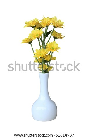 Small Vase Yellow Flower Isolated On Stock Photo Edit Now 61614937