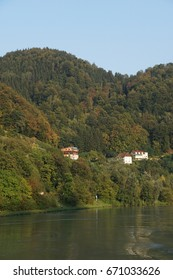 Small village  along the Danube River near  Melk, Austria